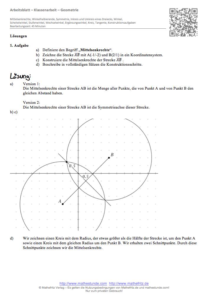 Geometrie Arbeitsblatt Klasse 7 | Symmetrie, Dreiecke, Winkel
