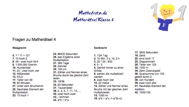Mathe Kreuzworträtsel Klasse 5: Arbeitsblätter mit Kreuzworträtseln