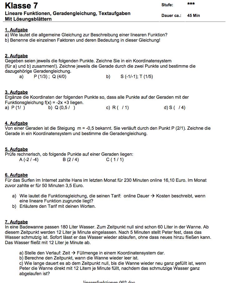 Arbeitsblatt lineare Funktionen mit Textaufgaben| Matheaufgaben ...