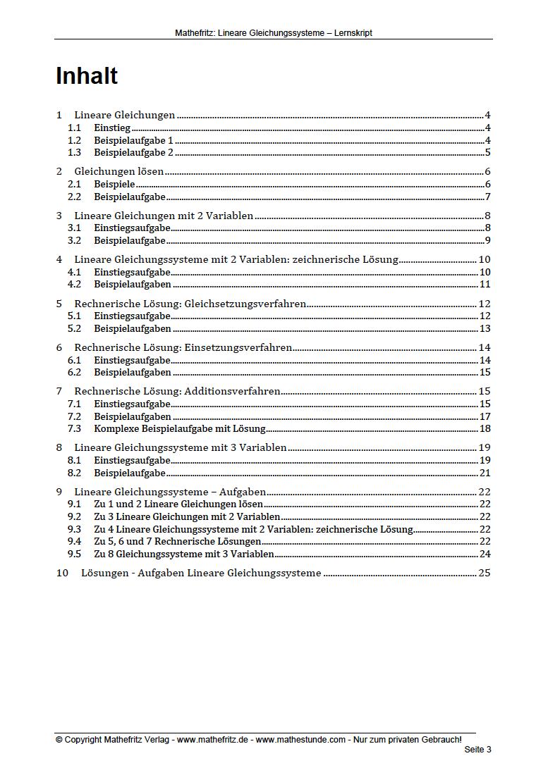 10+ Arbeitsblätter] Linare Gleichungssysteme Aufgaben @Mathefritz