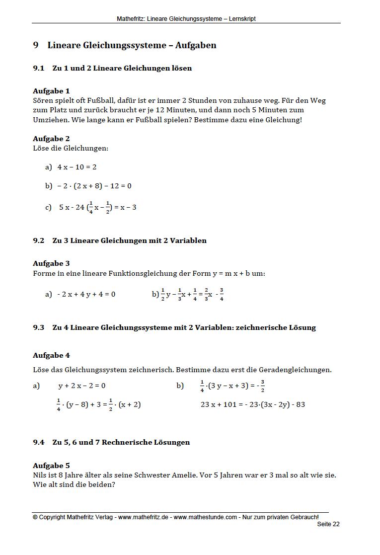 Ungewöhnlich Lösung Gleichungssystem Arbeitsblatt Bilder ...
