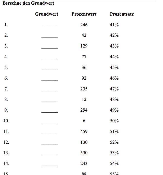 Grundwert berechnen Arbeitsblatt | Grundwertberechnung mit Mathefritz