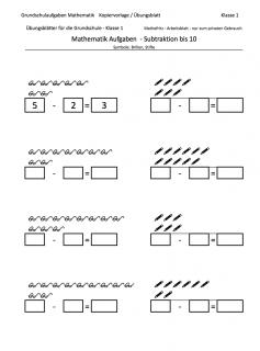 Minusrechnen Subtraktion mit Symbolen