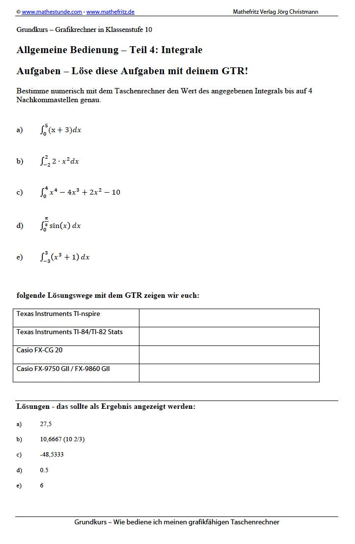 GTR Taschenrechner Grafikrechner Integrale berechnen