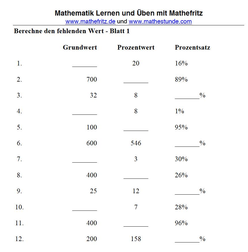 Prozentrechnung Arbeitsblatt | Prozentrechnung Aufgaben mit Lösung