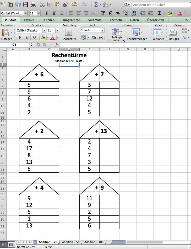 Rechentürme zur Addition, 1. Klasse Arbeitsblätter   Mathefritz