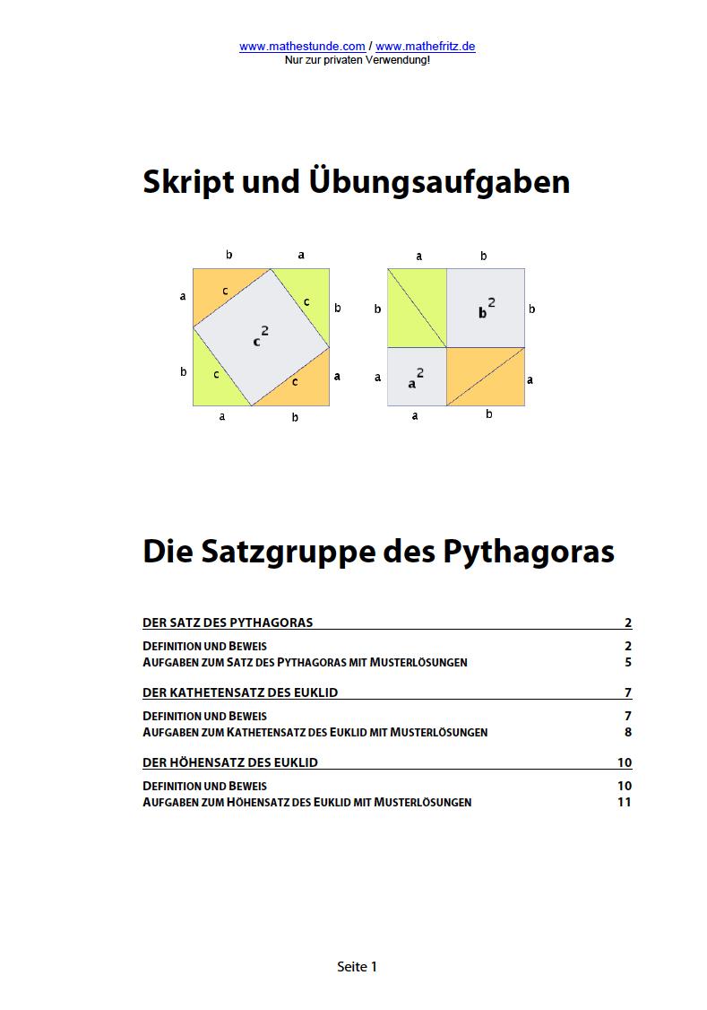 Satz des Pythagoras | Aufgaben und Herleitung Pythagoras