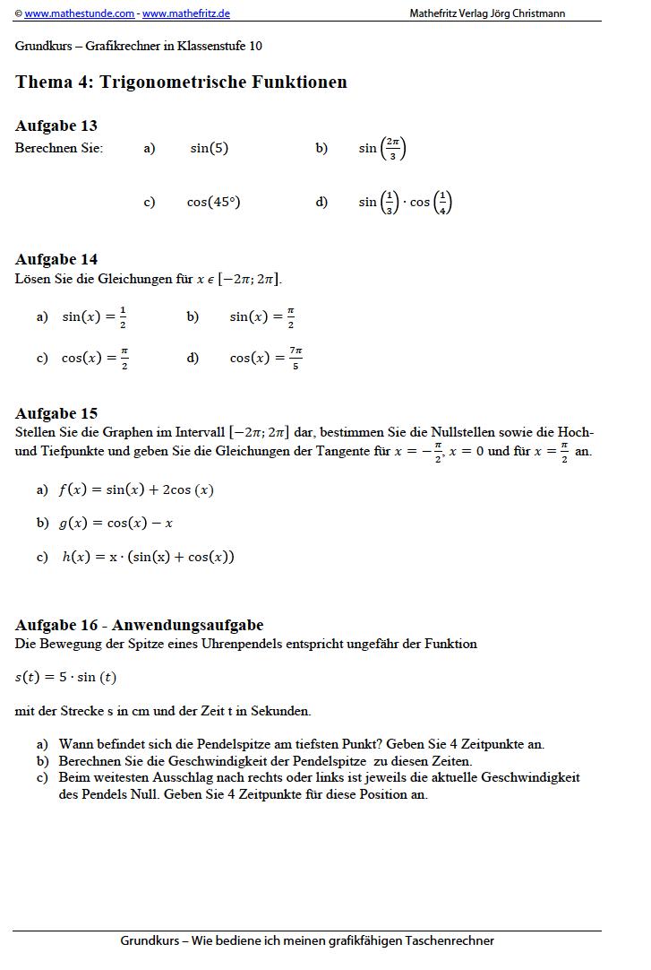 GTR Grafikrechner Taschenrechner Trigonometrische Funktionen