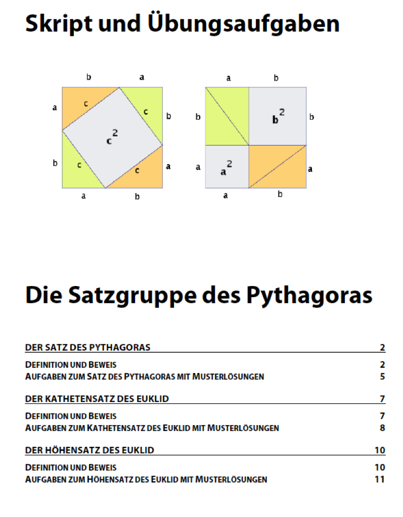 Beautiful Mathe Arbeitsblatt Satz Des Pythagoras Collection ...