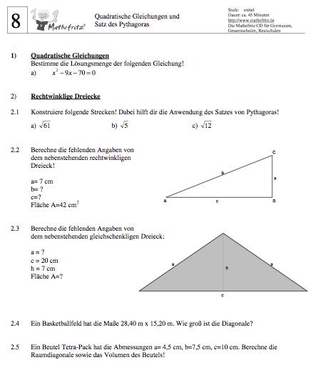 Satz Pythagoras Aufgaben Klasse 8 9: Matheaufgaben Satz des Pythagoras