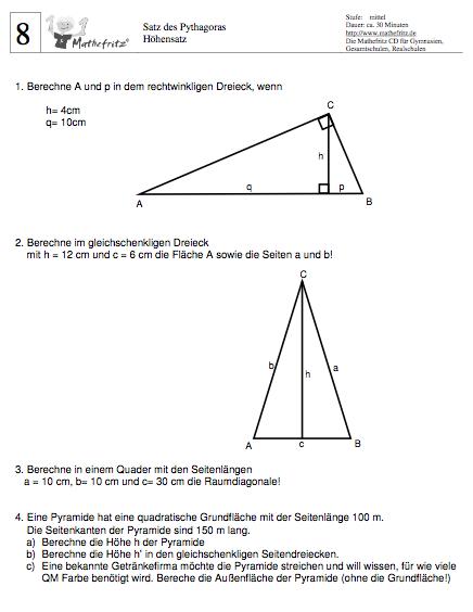 Pythagoras Übungsaufgaben Klasse 8: Aufgaben zu Pythagoras