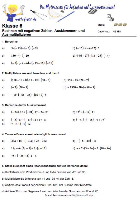 Ausklammern Ausmultiplizieren Arbeitsblatt Klasse 5|Mathefritz