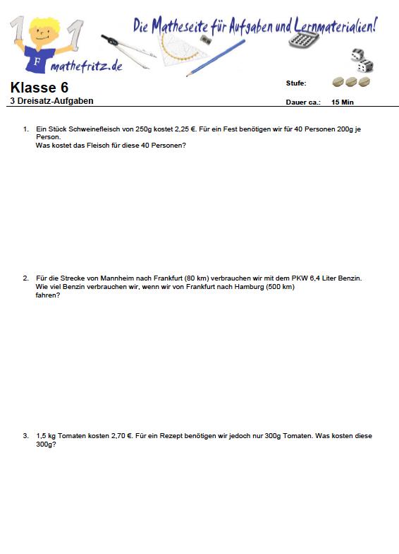 Dreisatz Aufgaben PDF: Aufgaben Dreisatz Klasse 6
