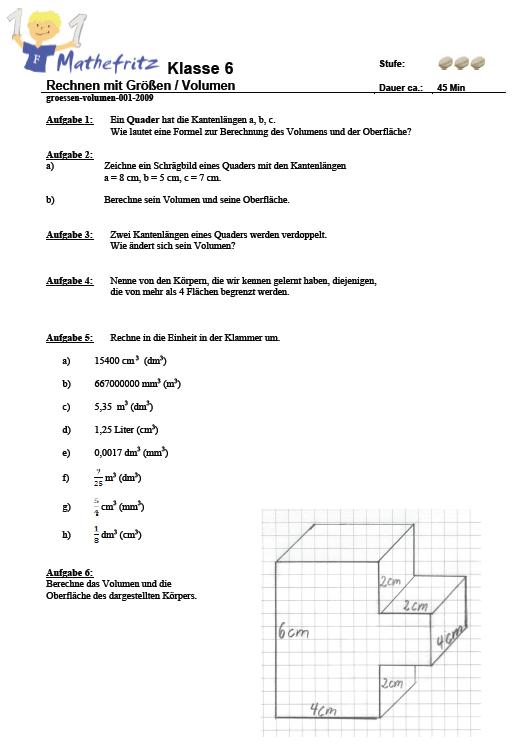 Aufgaben Volumen Quader Wüerfel: Matheaufgaben Klasse 6